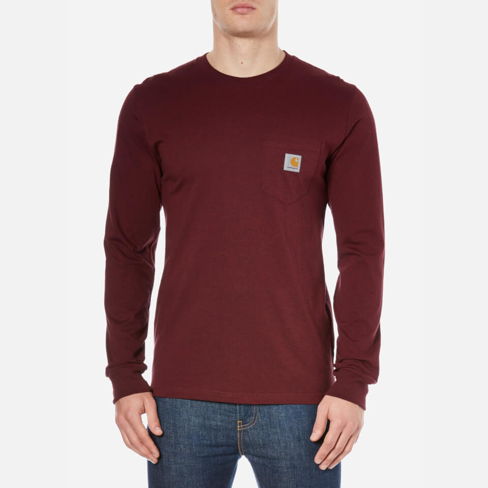 Carhartt men 39 s long sleeve pocket t shirt burgundy for Carhartt burgundy t shirt