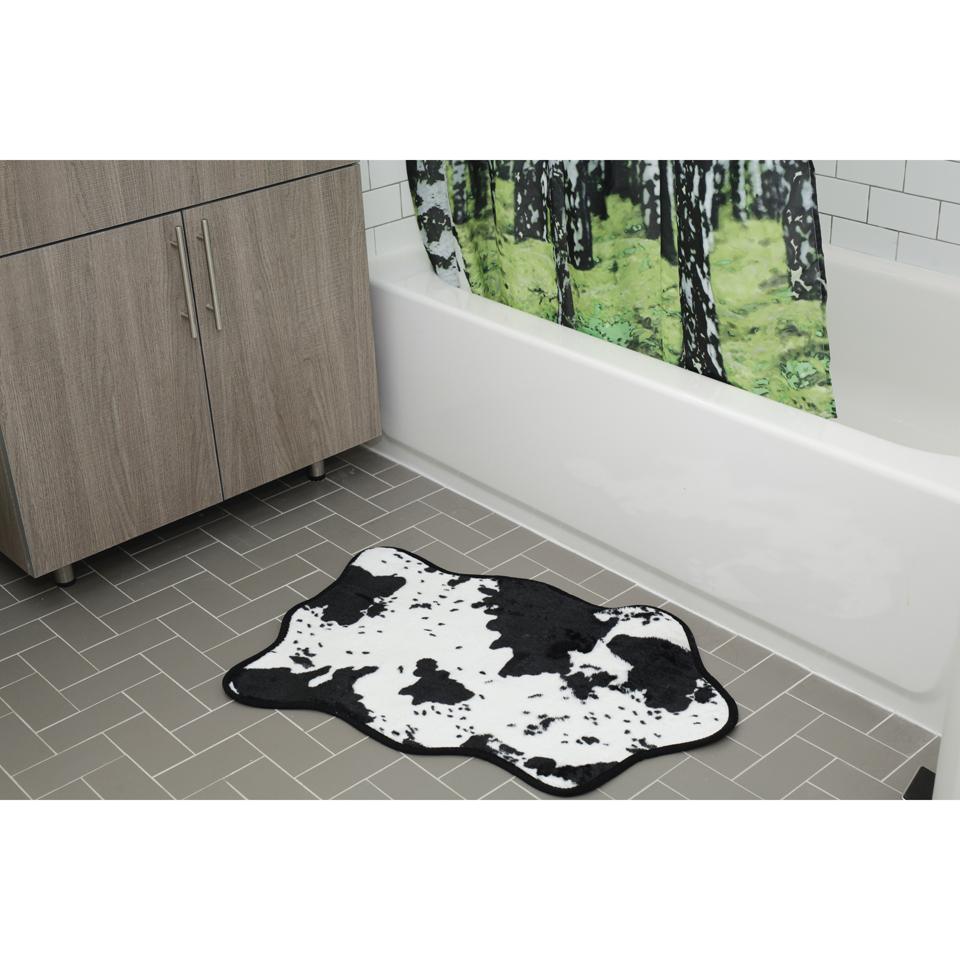 Cowhide Bath Rug Black White Traditional Gifts Zavvi