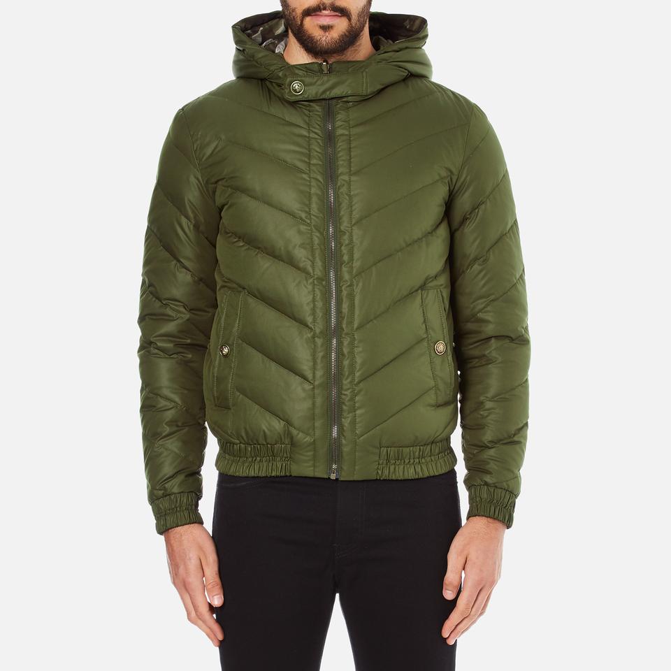 versus versace men 39 s hooded down jacket verde free uk. Black Bedroom Furniture Sets. Home Design Ideas