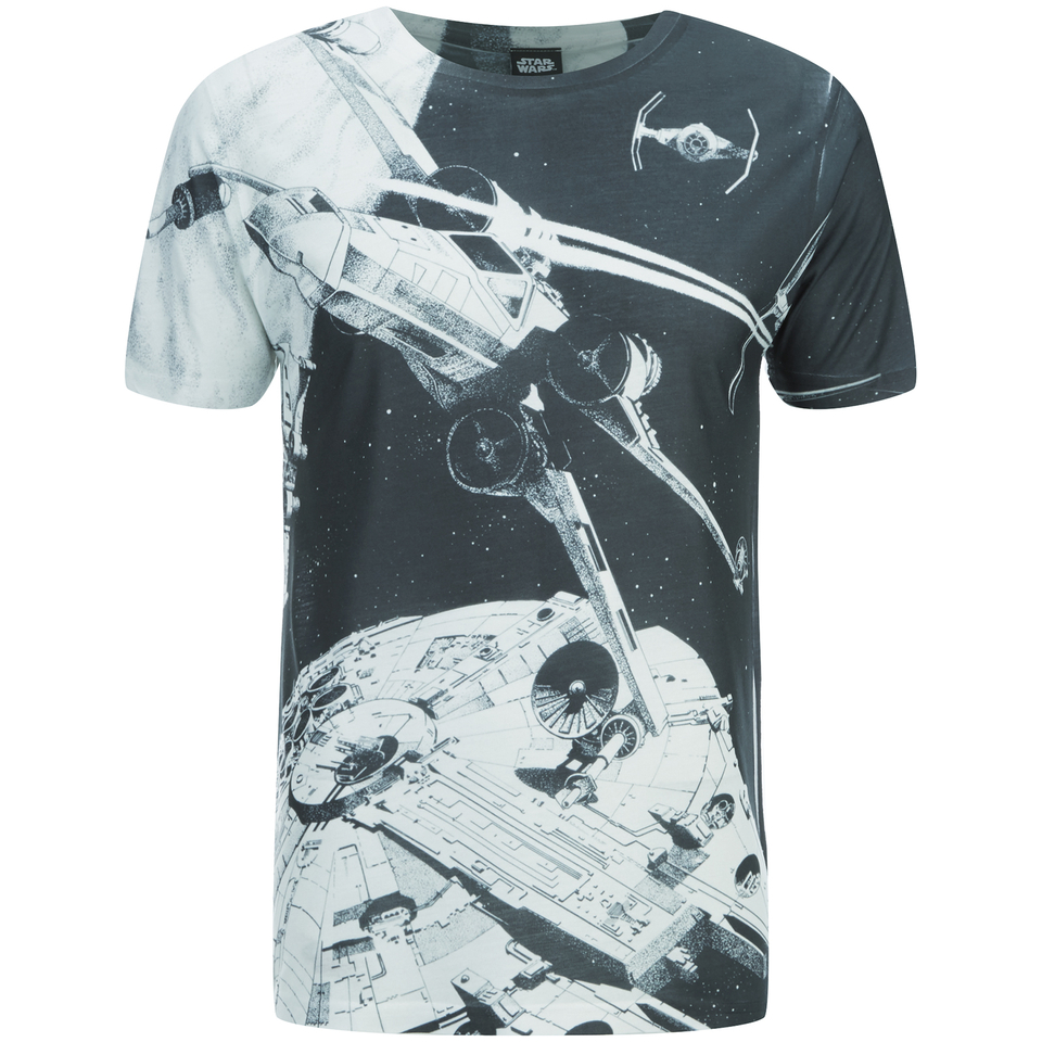 star wars men 39 s space battle t shirt black iwoot. Black Bedroom Furniture Sets. Home Design Ideas