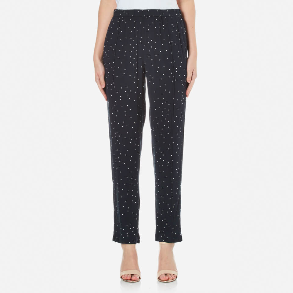 Ganni Women S Rosemont Crepe Dotted Trousers Dotted