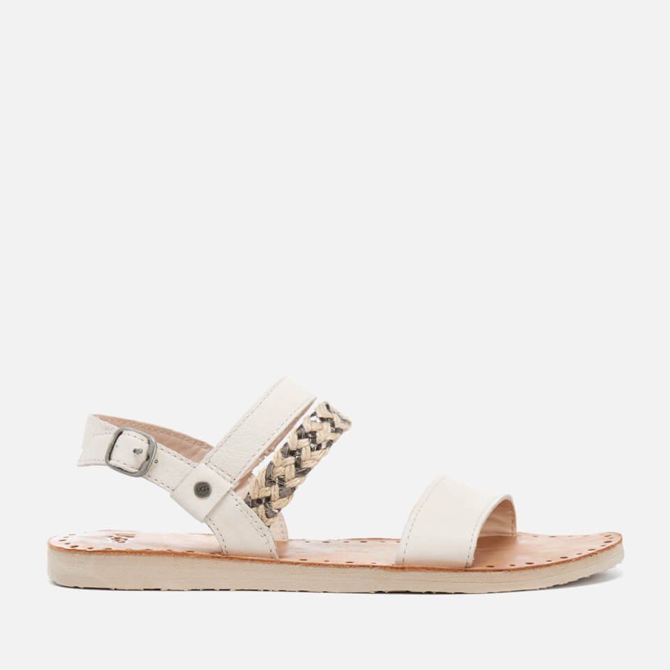 Ugg Women S Elin Leather Braided Double Strap Flat Sandals