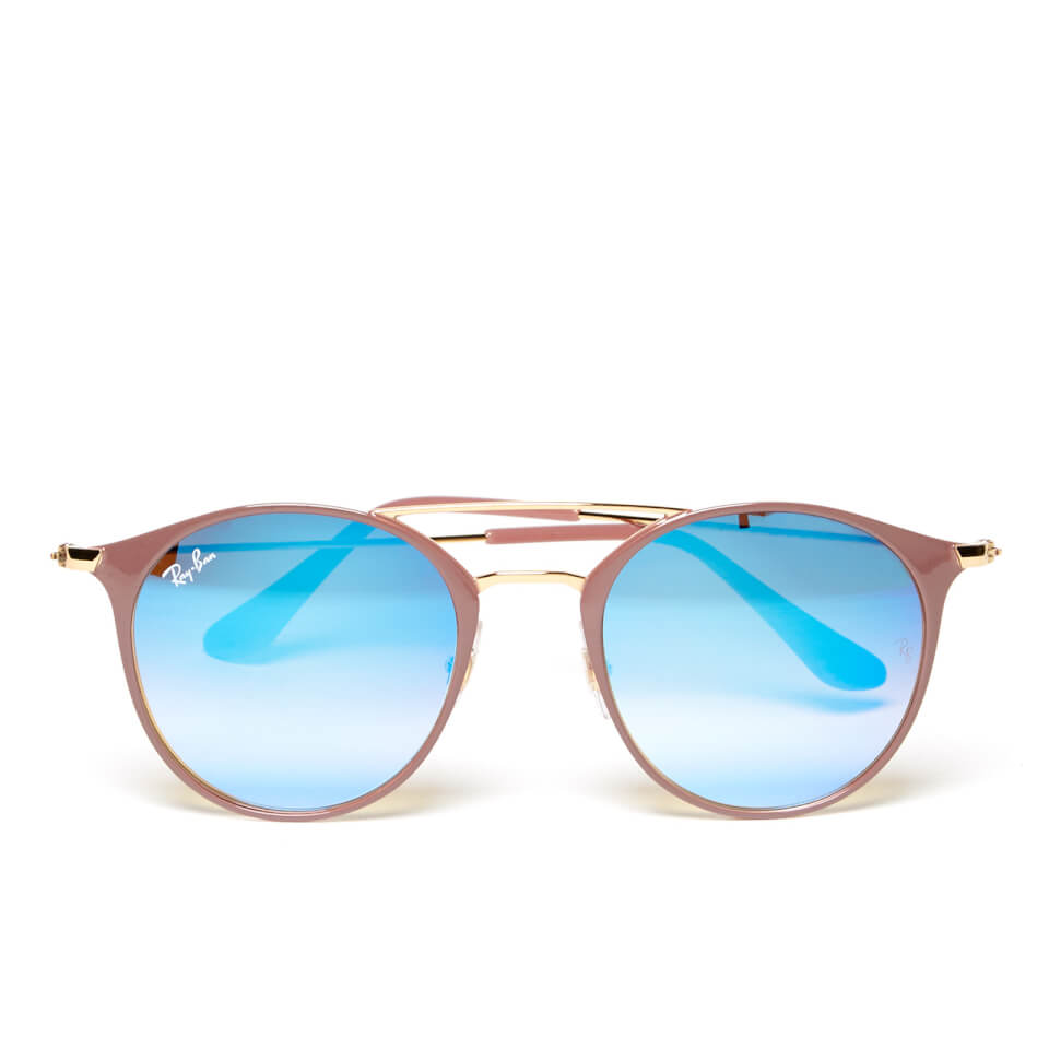 Ray-Ban Round Metal Rose Frame Sunglasses - Gold Top Beige Blue Flash  Womens Accessories   TheHut.com 9b99de25e3