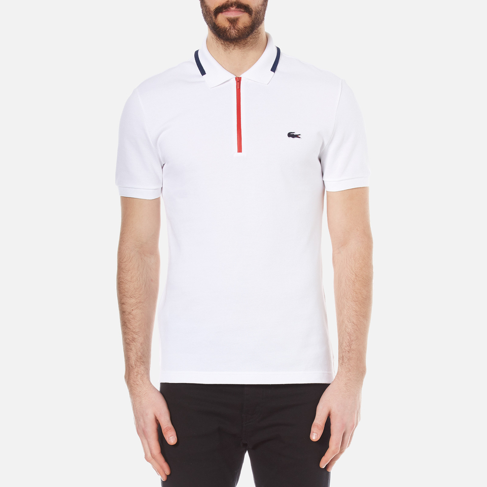 Lacoste men 39 s 39 made in france 39 zip polo shirt white ship for Lacoste poloshirt weiay