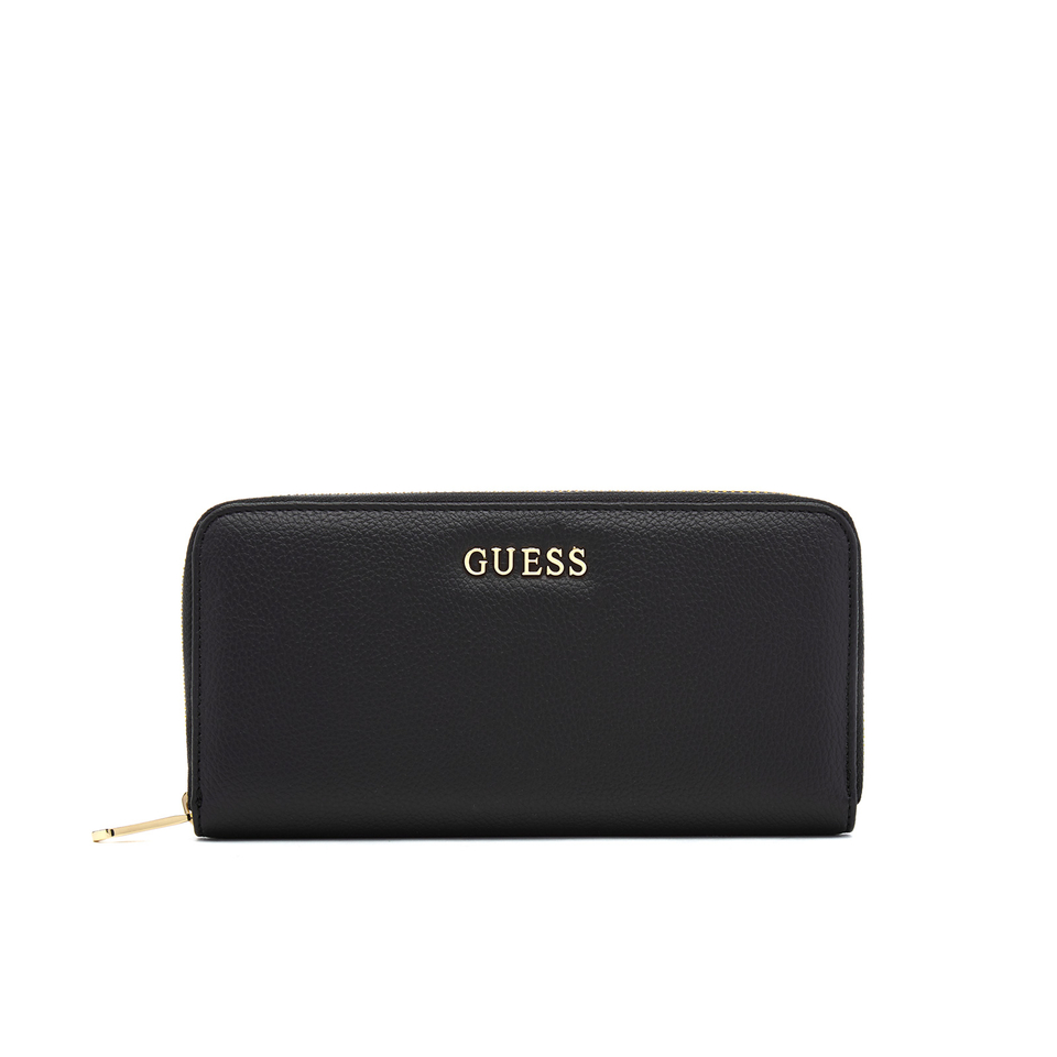 Guess Womens Isabeau Large Zip Around Purse Black