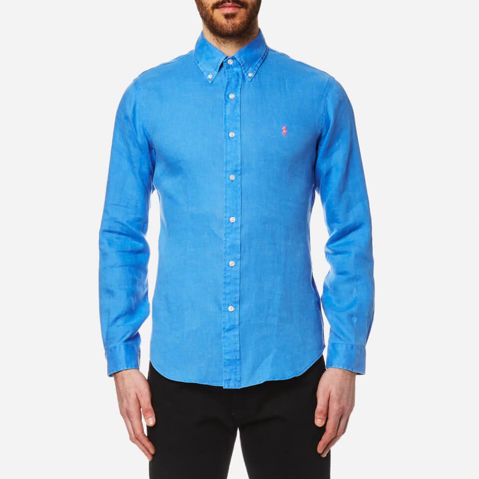 Polo ralph lauren men 39 s linen long sleeve slim fit shirt for Aqua blue mens dress shirt