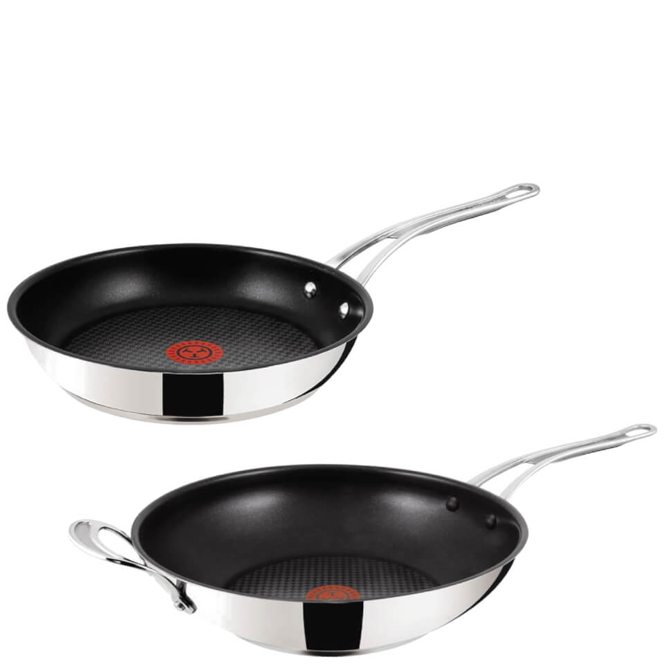 jamie oliver by tefal stainless steel non stick 2 piece cookware set 28cm frying pan 30cm wok. Black Bedroom Furniture Sets. Home Design Ideas