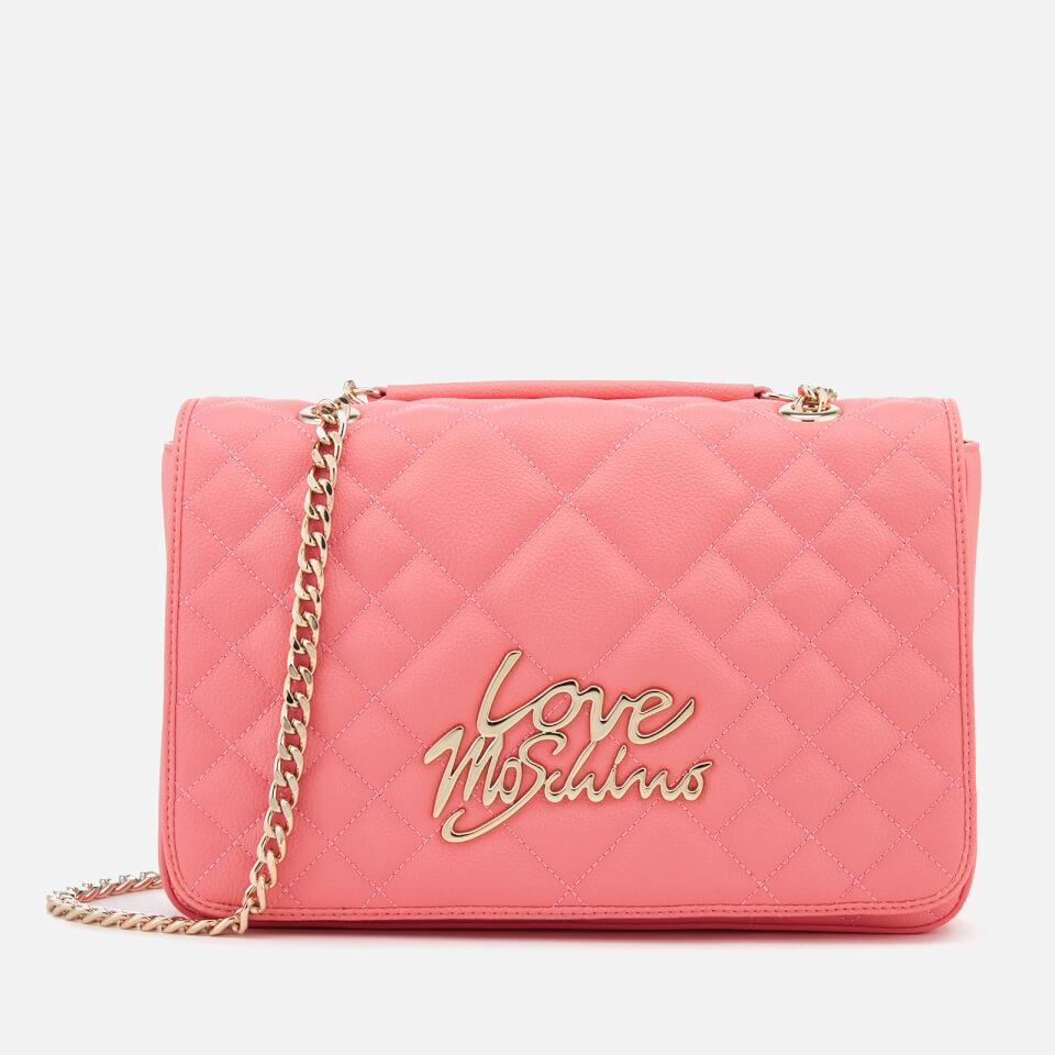 Love Moschino Women s Matt Quilted Flap Shoulder Bag - Pink a2b1a5aee4b88