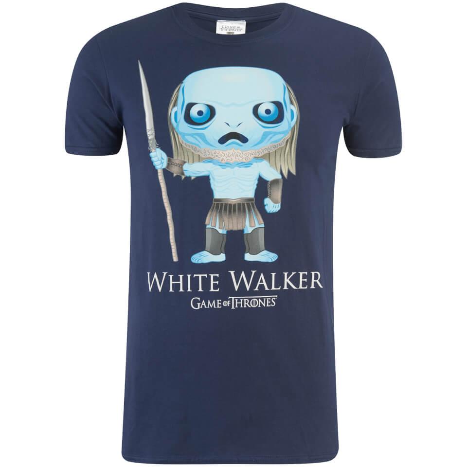 Game of thrones men 39 s white walker funko t shirt navy for Throne of games shirt