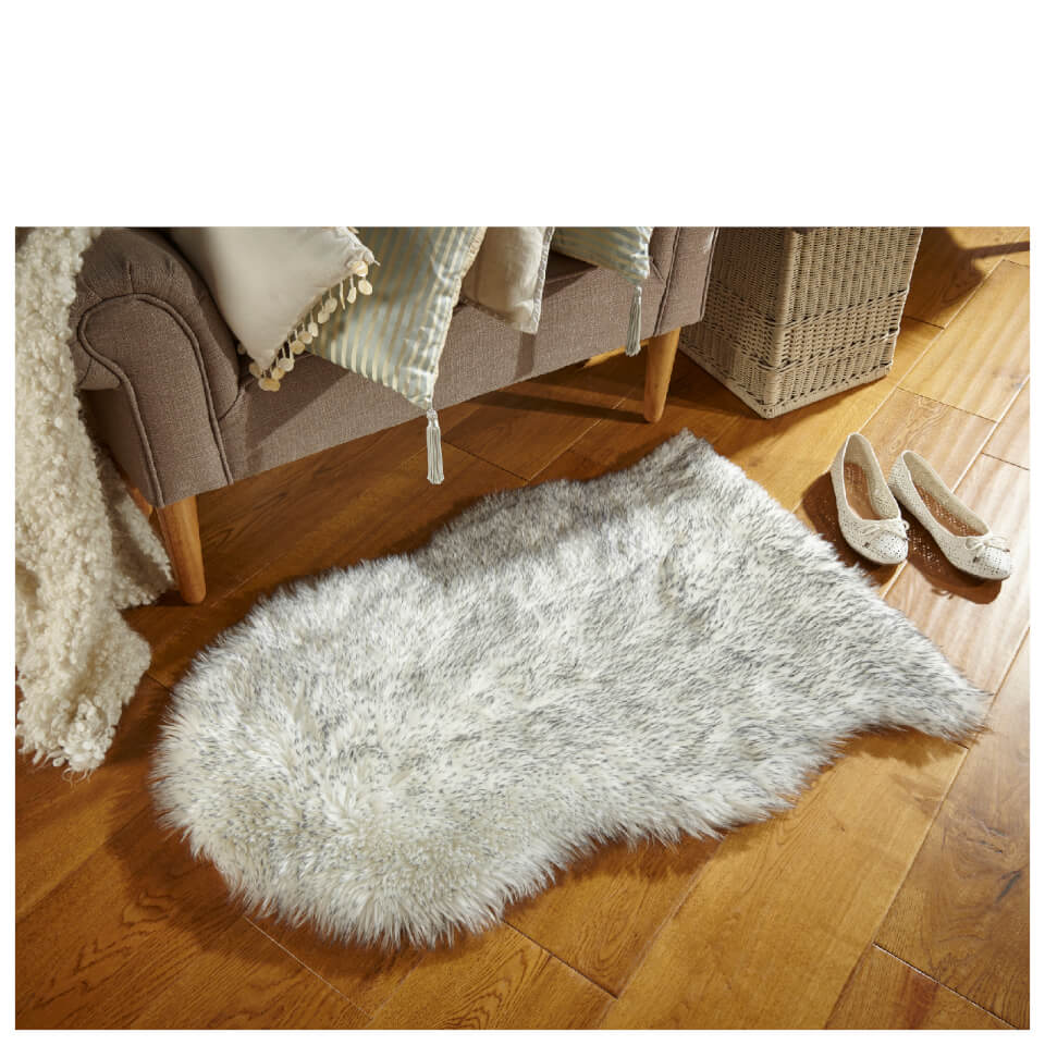 Flair Faux Fur Rug Sheepskin Grey Tipped 60x90