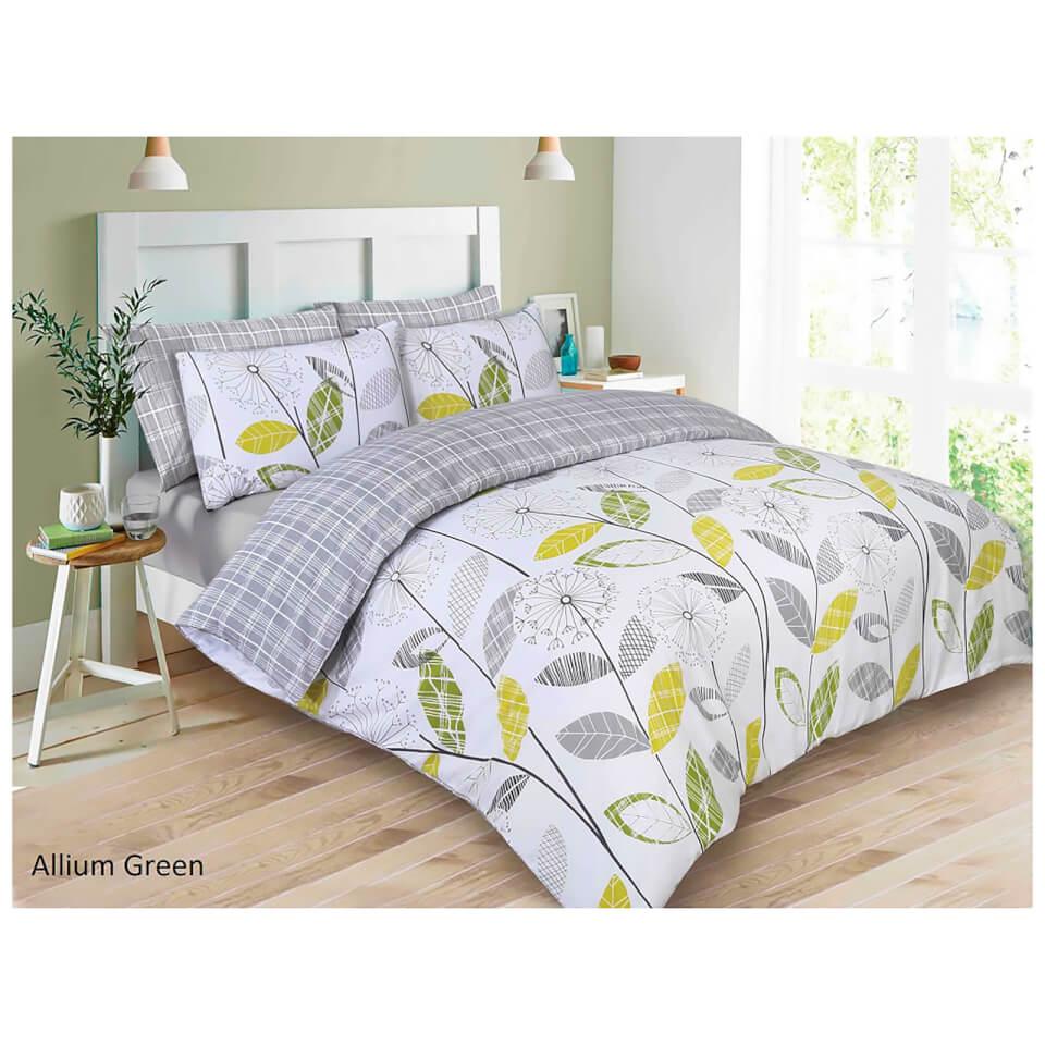 Dreamscene Allium Duvet Set Green Grey Iwoot