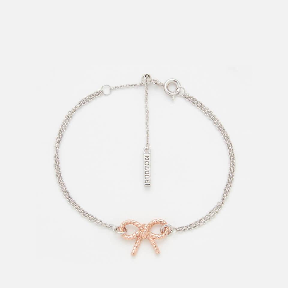 2428b2af4201 Olivia Burton Women s Vintage Bow Chain Bracelet - Rose Gold Silver ...