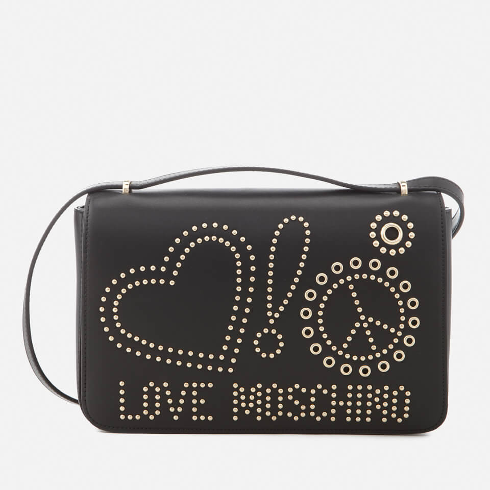 Love Moschino Womens Studded Logo Cross Body Bag Black