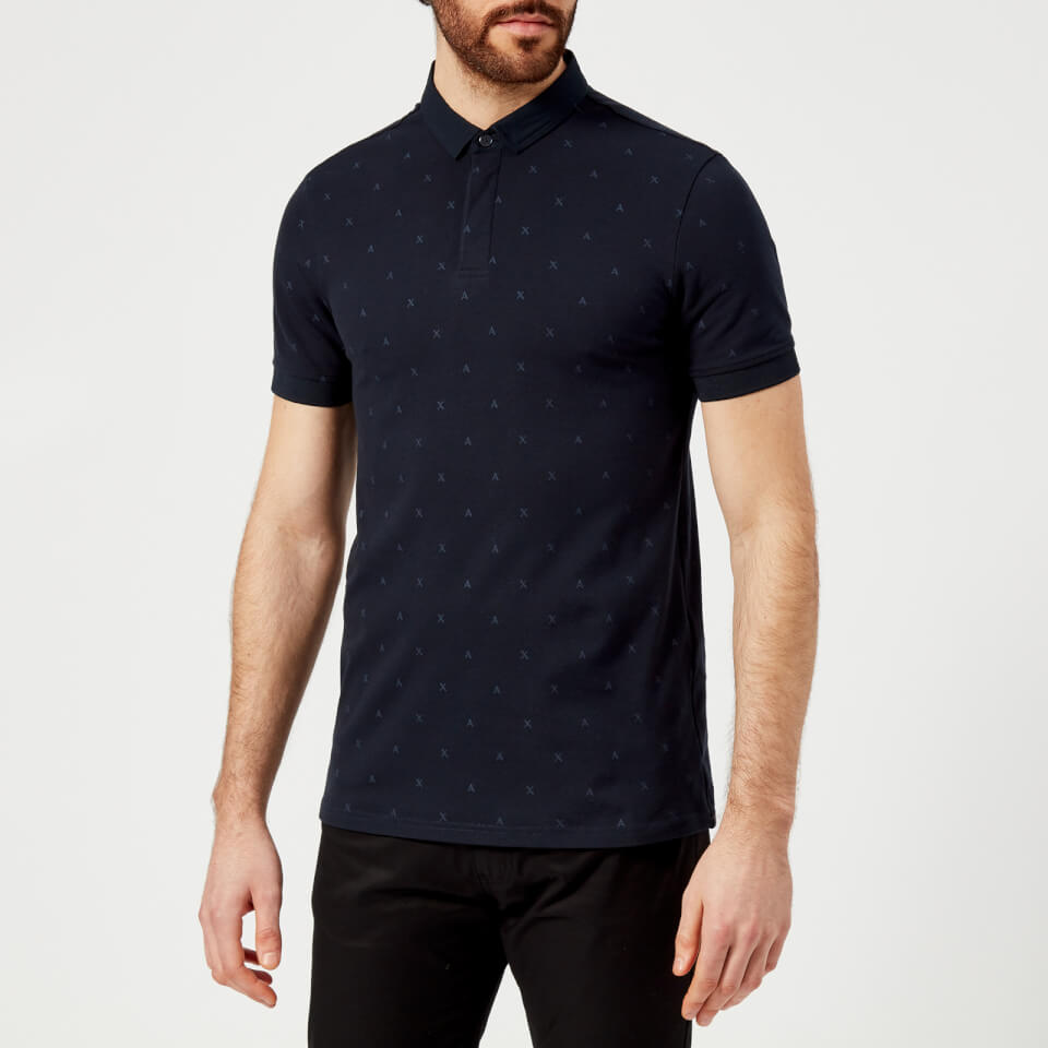 Armani Exchange Men S All Over Print Polo Shirt Navy