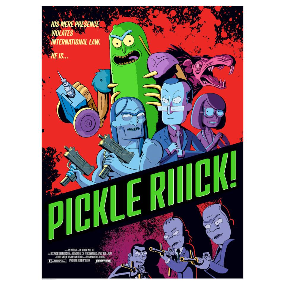 Rick Amp Morty Pickle Rick Lithograph Print By Serban