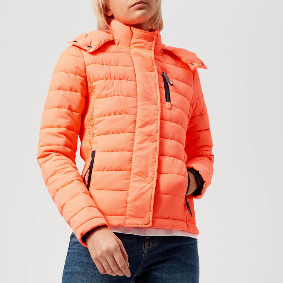 Womens Fuji Slim Double Zip Hooded Jacket in Acid Coral