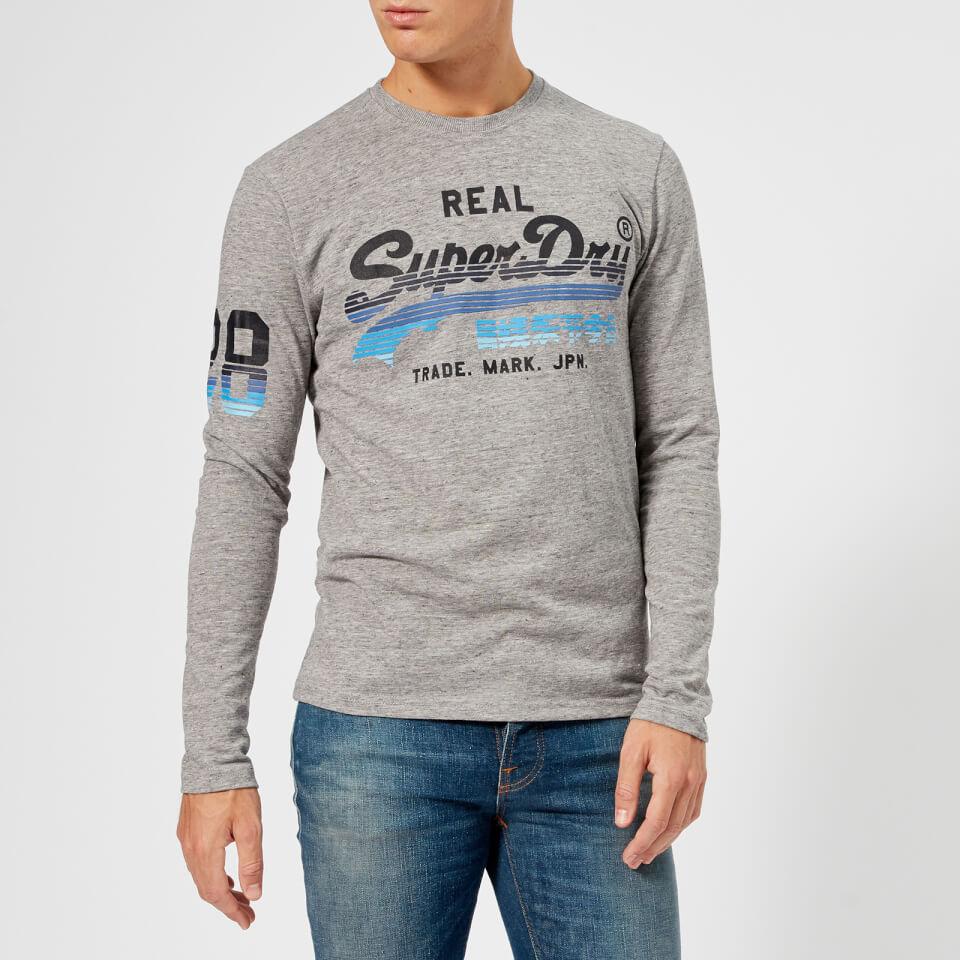 7169c4d1ce8 Superdry Men s Vintage Logo Cali Horizon Long Sleeve T-Shirt - Harbour Grey  Clothing