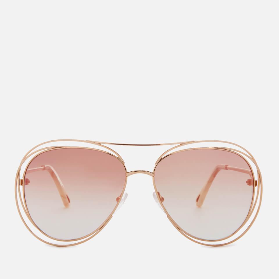 5ac5980aeb47 Chloe Women s Carlina Aviator Style Sunglasses - Gold Marble