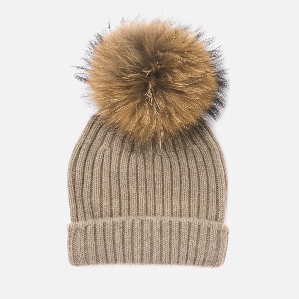 43754f07e0b BKLYN Women s Cashmere Pom Pom Hat - Oatmeal Natural