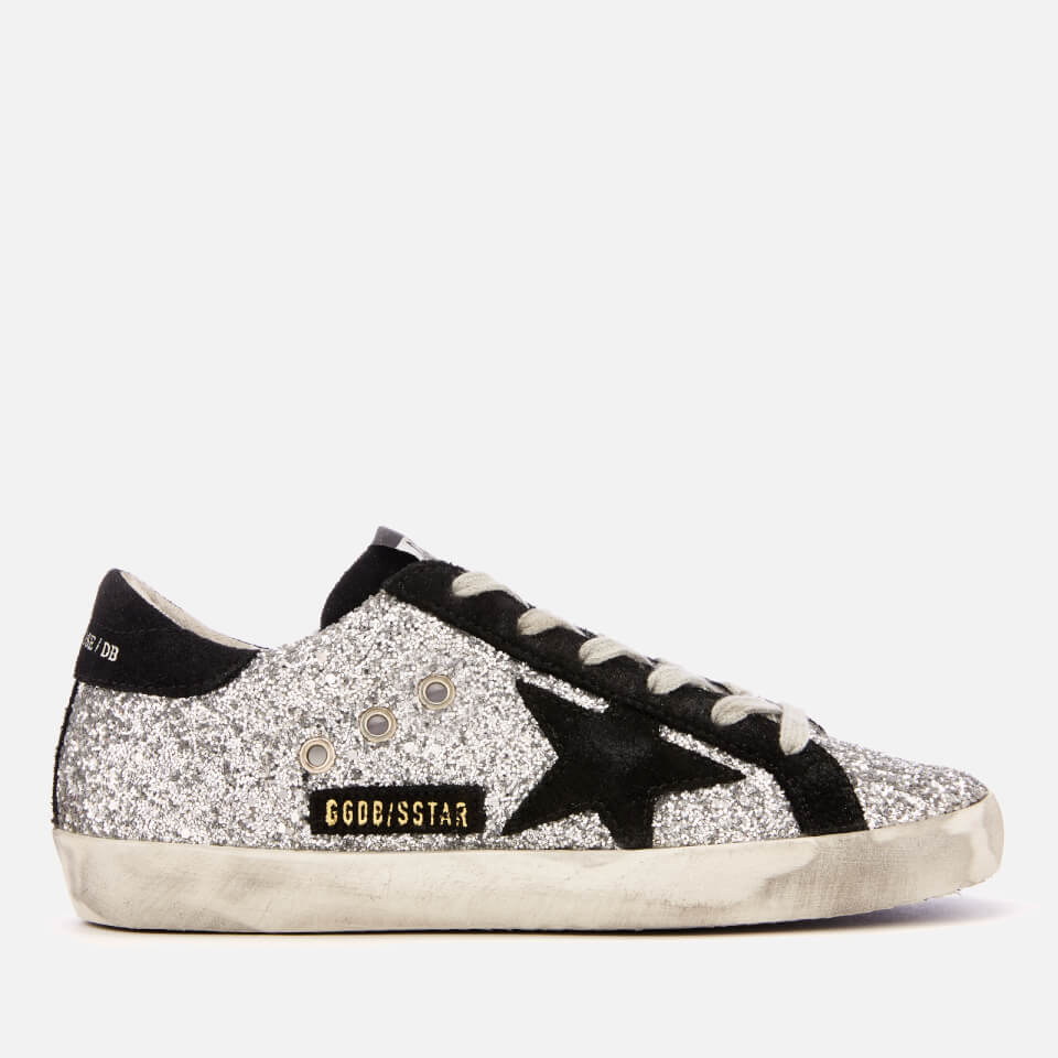 Golden Goose Deluxe Brand Women s Superstar Leather Trainers - Silver  Glitter Black Star - Free UK Delivery over £50 4023af29c40