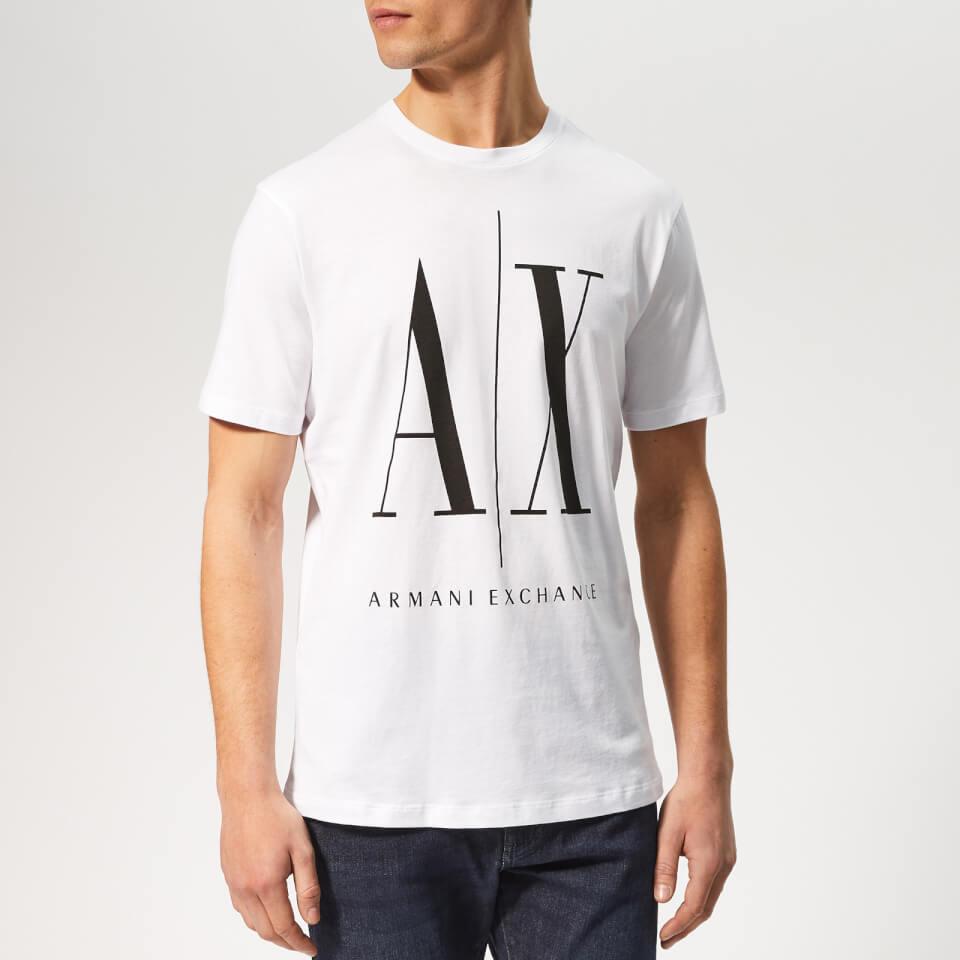 Armani Exchange Men s AX Logo T-Shirt - White Black Clothing ... 00ee7406bdc0a