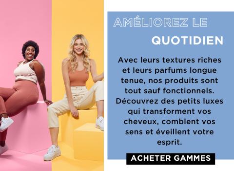 Avec leurs riches textures et leurs parfums durables, nos produits sont tout sauf fonctionnels. Découvrez des petits luxes qui transforment vos cheveux, dorlotent vos sens et éveillent votre esprit.