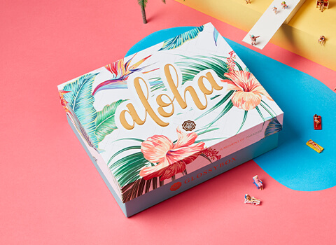 GLOSSYBOX July Aloha Edition - Subscribe today and receive first box for $16 - Use Code: ALOHA16