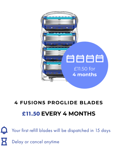 4 FUSION5 PROGLIDE BLADES. £11.50 EVERY 4 MONTHS