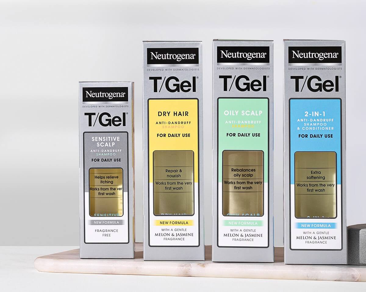 Hair. NEUTROGENA T/Gel everyday range of shampoos are specially designed to help clear your dandruff from first use, and keep your scalp flake-free with daily use.