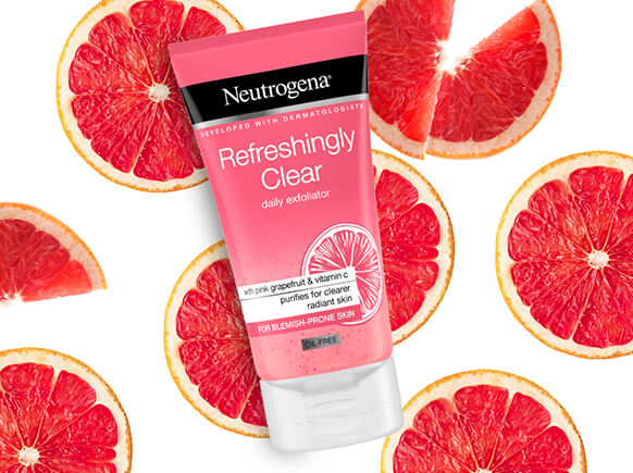 Refreshingly Clear. With a pink grapefruit fragrance, Refreshingly Clear purifies deep down for a clearer, more radiant complexion.