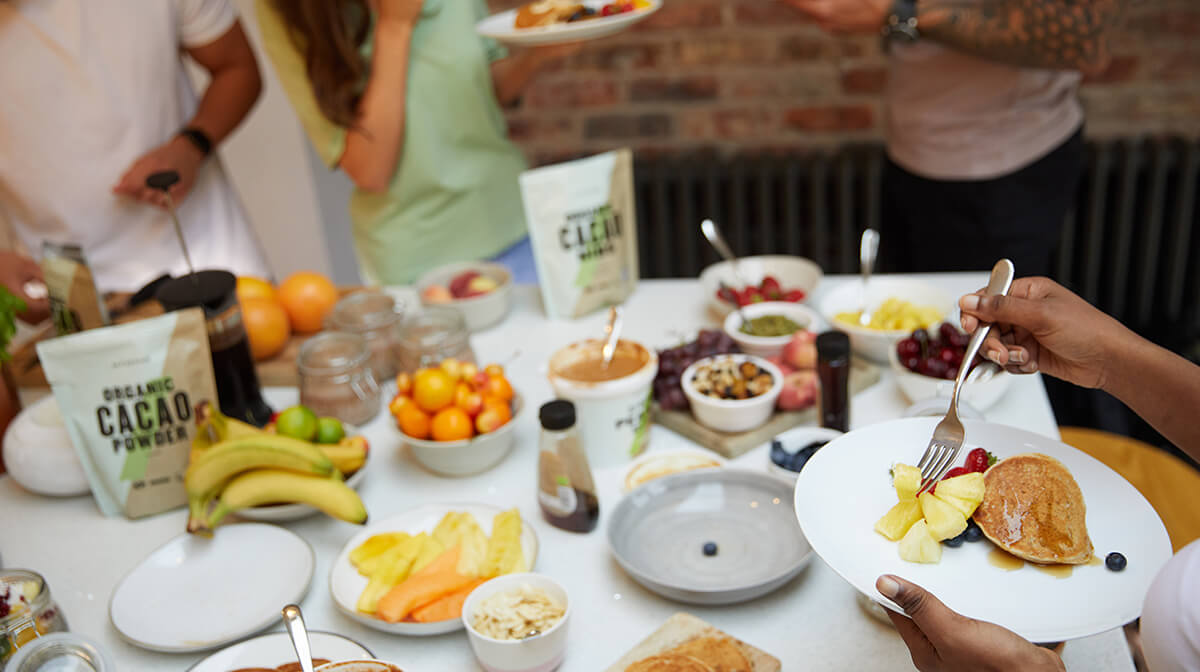 table of vegan food
