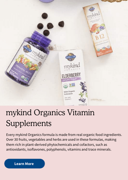 mykind Organics Vitamin Supplements. Every mykind Organics formula is made from real organic food ingredients. Over 30 fruits, vegetables and herbs are used in these formulas, making them rich in plant-derived phytochemicals and cofactors, such as antioxidants, isoflavones, polyphenols, vitamins and trace minerals.