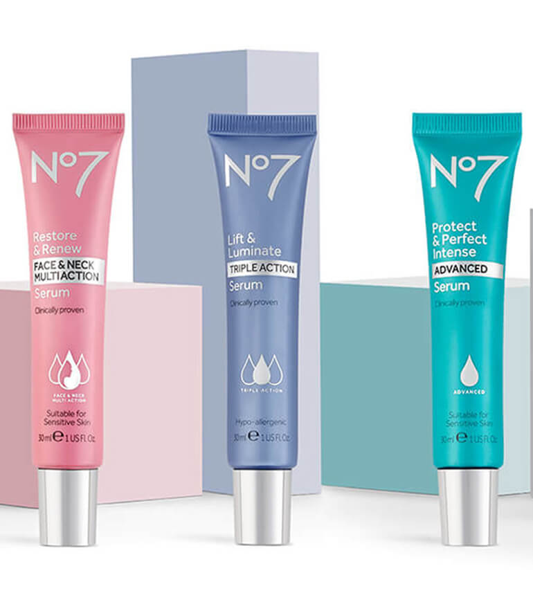 No7 Serum Range: Restore & Renew, Lift & Luminate , Protect & Perfect , Early Defense