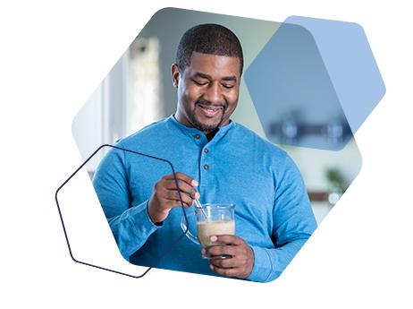 Image of a man enjoying an OPTIFAST creme