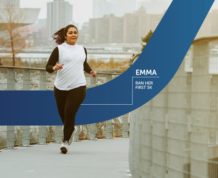 A women running