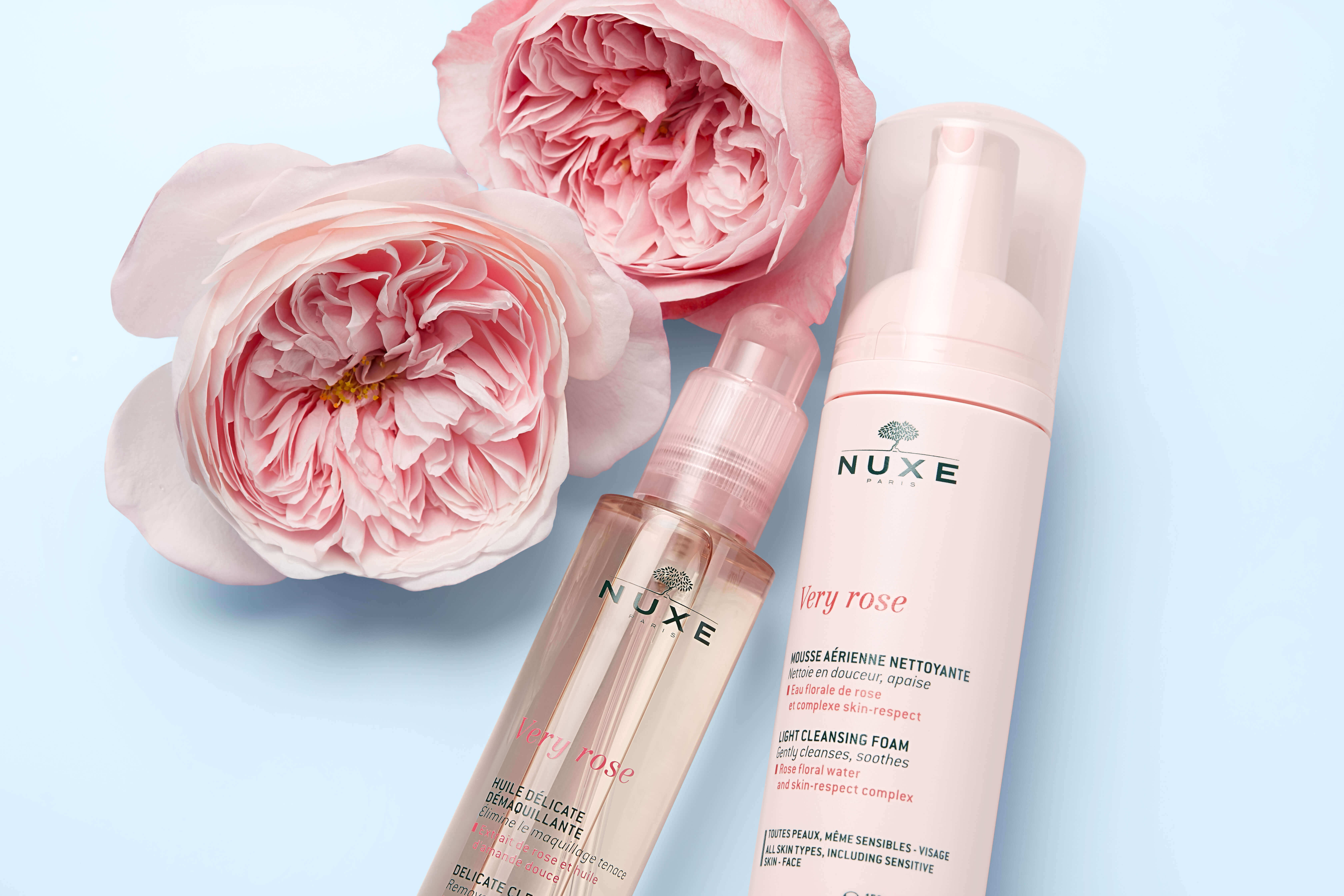 Nuxe Very Rose Products with Pink Flowers