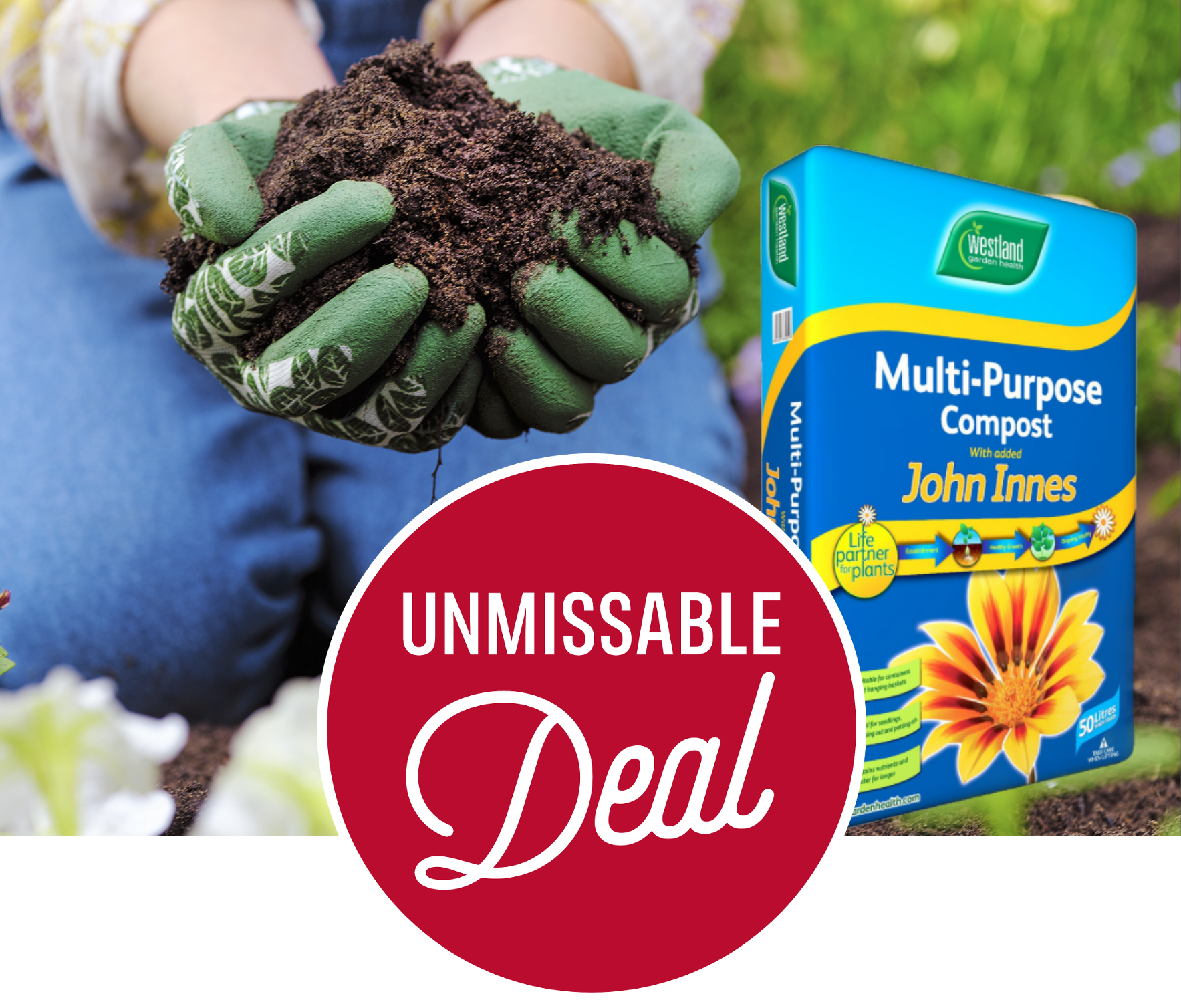 Buy 2 for £12 or 4 for £20 - Westland Multi Purpose Compost With John Innes - 50L