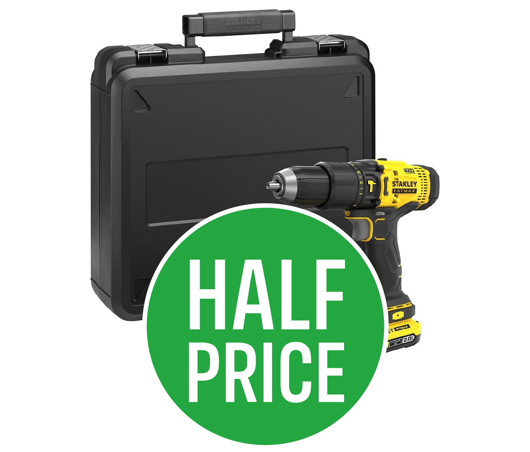 50% off Stanley Fatmax V20 2AH Battery When purchased Stanley Fatmax V20 Cordless Combi Drill with Kit Box