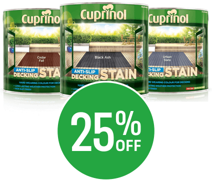 Save up to 25% on 2.5L Cuprinol & Decking Stain & Oil
