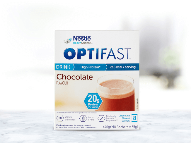 OPTIFAST chocolate flavoured meal replacement shakes