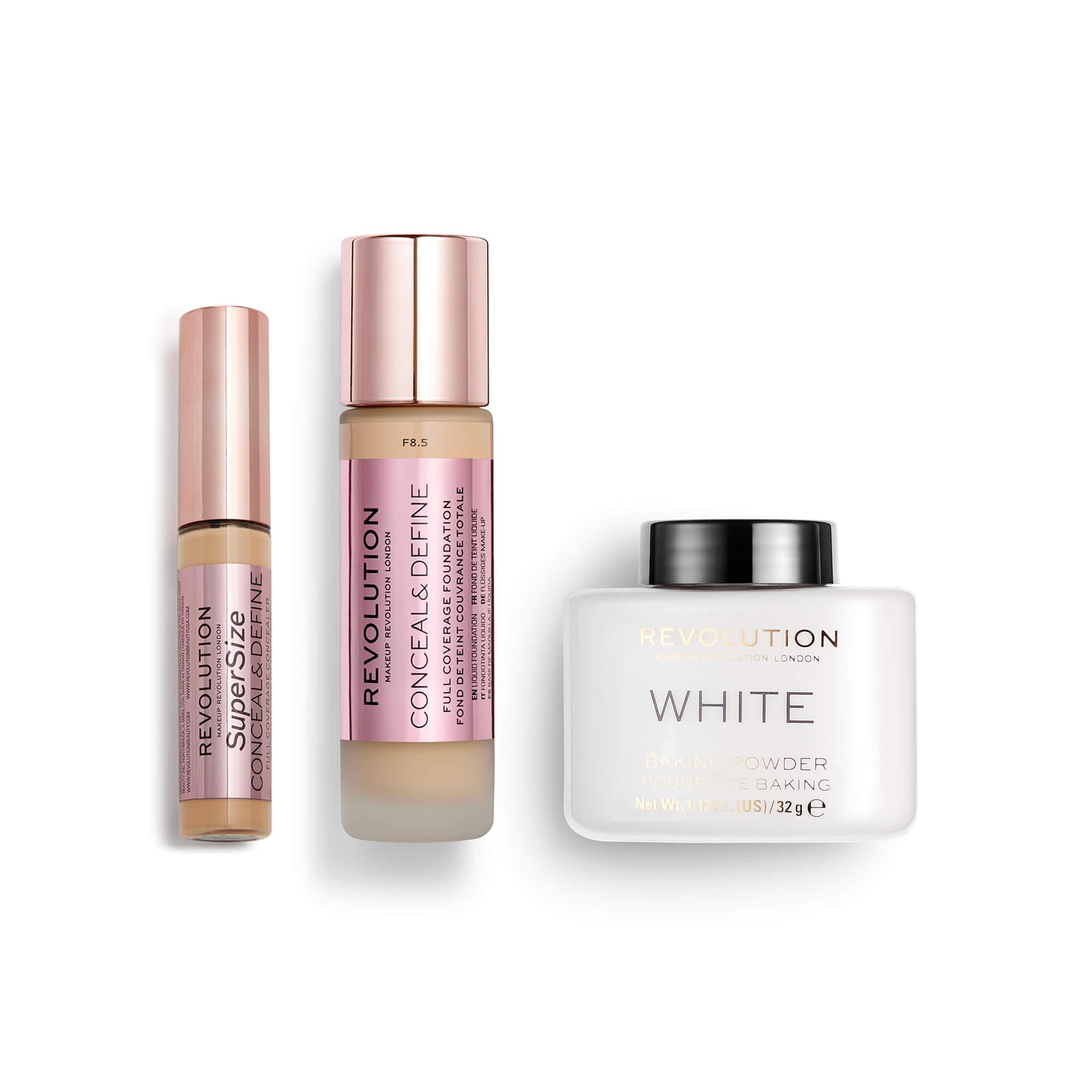Build your own bundle including a Revolution Beauty foundation, concealer & baking powder