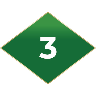 Green diamond with number 3 inside