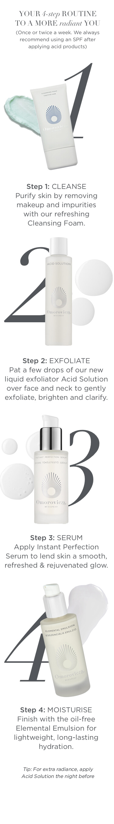 Acid solution skin care routine