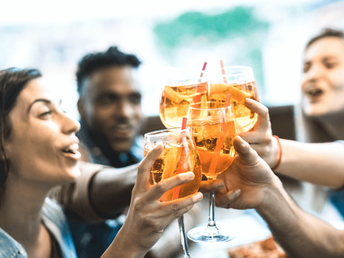 Friends celebrating with Adult Soft Drinks & Mixers