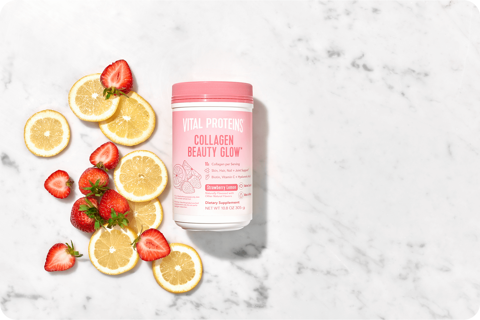 Try our Strawberry Lemon beauty collagen glow