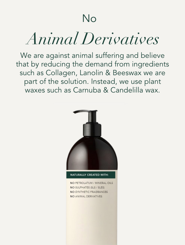 No animal derivates. We are against animal suffering and believe that by reducing the demand from ingredients such as collagen, lanolin and beeswax we are part of the solution. Instead,  we use plant waxes such as Carnuba & Candelila wax