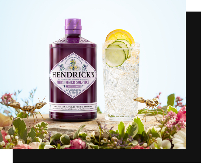 Hendricks Midsummer Solistace, prepared in a glass, surrounded by flowers