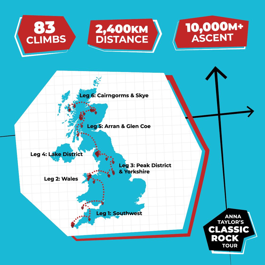 83 climbs, 2,400km distance, 10,000m+ ascent.
