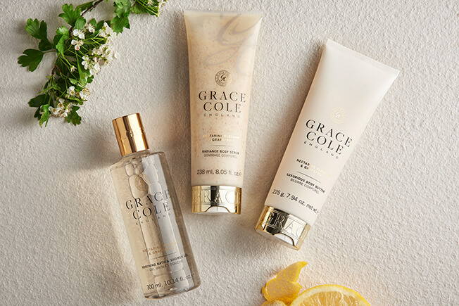 Shop the Nectarine Blossom & Grapefruit Collection