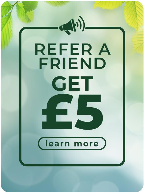 Refer a friend get £5 credit referral scheme